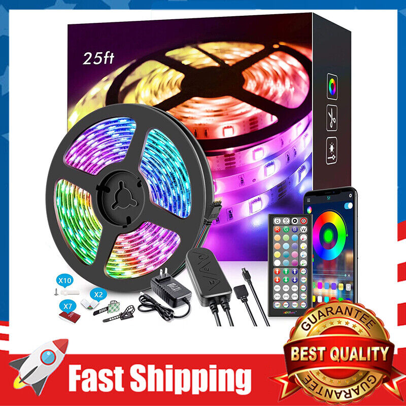 25ft LED Strip Lights APP Control,Music Sync,Color Changing