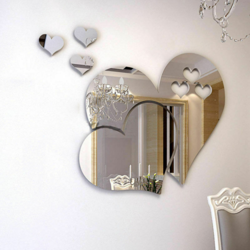 Home Decoration - 3 Love Heart Mirror Tiles Kitchen Wall Sticker Stick on Decal Home Bedroom Decor