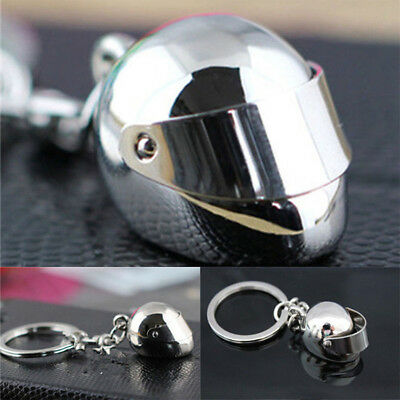 Sports Motorcycle Car Bike Bicycle Helmet Silver Key Chain Keyring Key Fob