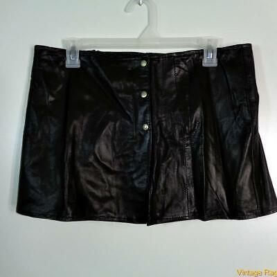 Sexy Soft Lambskin Leather Mini Skirt Size M Black