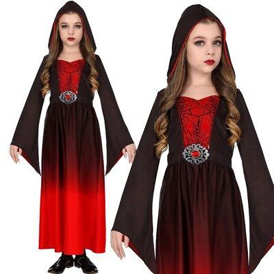 Mittelalter Kostüm Kinder Gothic KLEID MIT KAPUZE - - Gothic Vampir Kinder Kostüme
