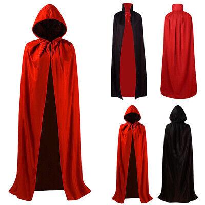 Zauberer Schwarz Mantel Robe Vampir Unisex Erwachsene Kostüm - Zauberer Robe Kostüm