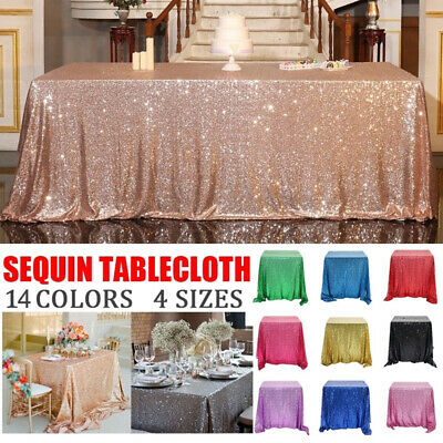 Glitter Sequin Rectangle Tablecloth Cover Rose Gold Silver Wedding Banquet Party