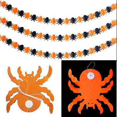 Halloween Prop Garland Pumpkin Spider Hanging Ghost Paper Party Decor Scary - Best Scary Halloween Decorations