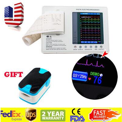 Portable 3-channel Ecgekg Machine Cardiograph Electrocardiograph Pulse Oximeter
