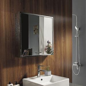 New Bathroom Mirror Cabinet Storage Wall Mounted Stainless Steel Double Door