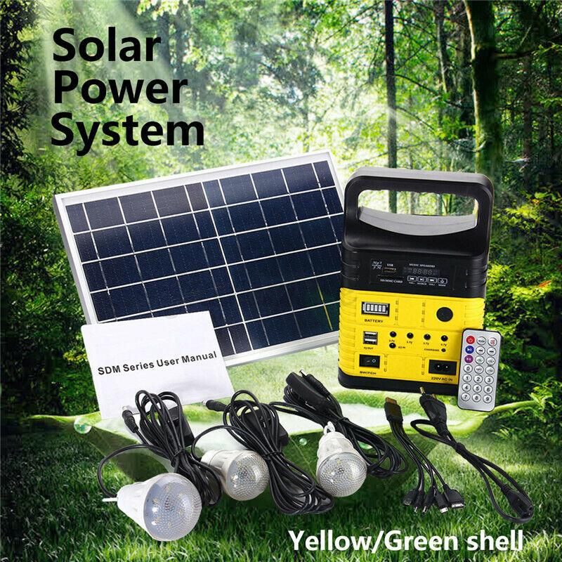 Solar Power System W/3Bulbs Radio Outdoor Camping Portable Generator Radio / MP3