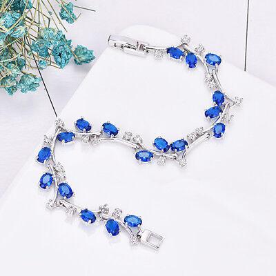 Platinum Plated Charm - Floral Vine Bracelet Blue Topaz White Crystal Gem Platinum Plated Charm Bracelet