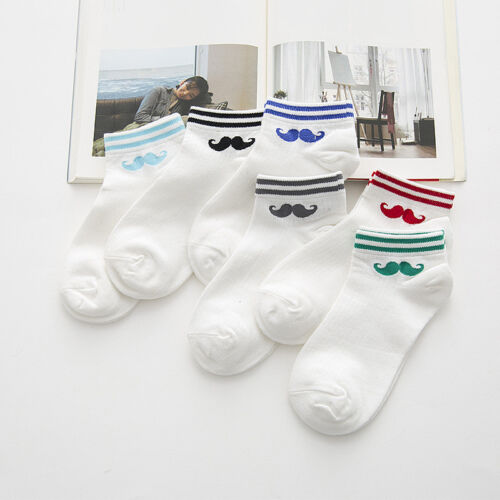 1 Pairs Womens Moustache Print Plain Ankle Striped Trainer Sports Casual Socks