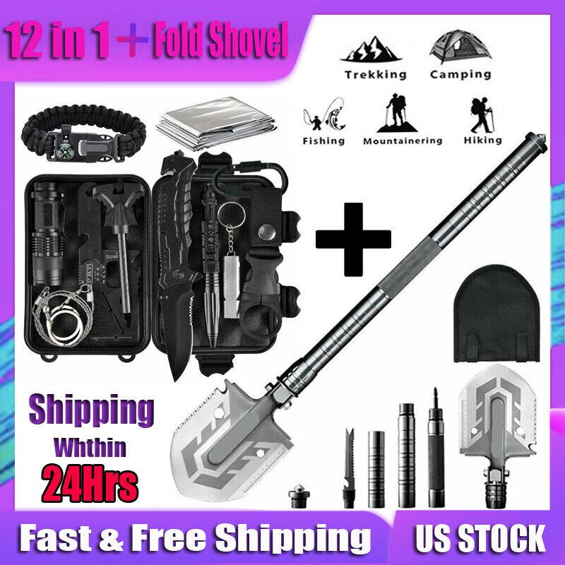 Folding Shovel Axe Kit Survival Gear Outdoor Military Tactical Multi Tools Set