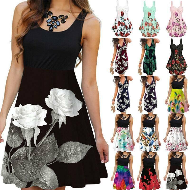 VENMO Floral Camisole Dress Girls Sleeveless Camisole Dress Ladies Summer V Neck Boho Dress Print Mini Dress Beach Dress