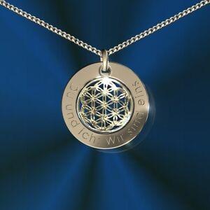 Anhänger rund mit Blume des Lebens, Inkl. Gravur, Silber 925, , Namenskette
