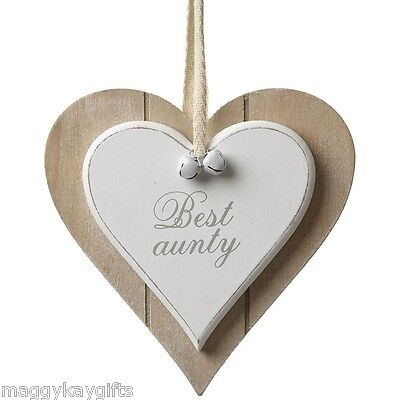 Best Aunty Auntie - Shabby Chic Wooden Hanging Heart Plaque Sign White