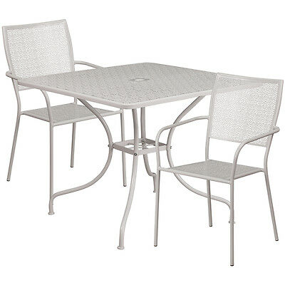 35.25 Square Light Gray Indoor-outdoor Patio Restaurant Table Set W2 Chairs