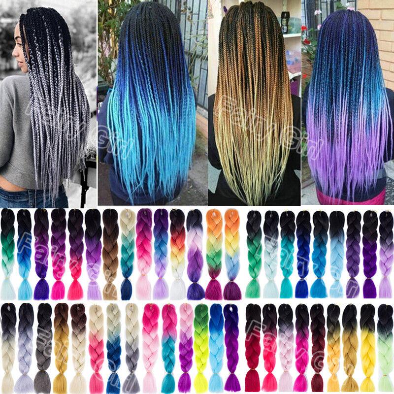1pc 24'' Jumbo Braiding Hair Ombre Kanekalon Braiding Hair 100g/pc 60 colors