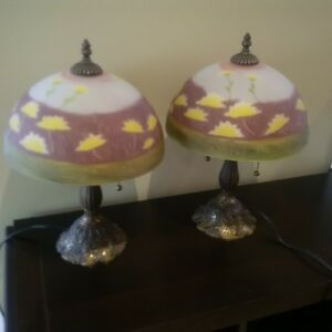 Beautiful pair of lamps with heavy base and hand painted shade.