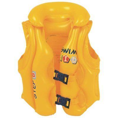 Giubotto Gonfiabile Giubbino Salvagente Per Bambini Swim Kids Giallo Jilong