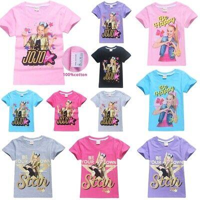 UK Kids Girls Jojo Siwa Casual Cotton T-shirt Cartoon Pajamas Clothes Top Shirts