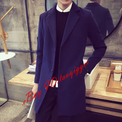 M-5XL Mens Youth Wool Blend Jacket Trench Long Coat Lapel 3 Button Blazers Vogue