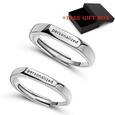 2PCS Stainless Steel DIY Personalized Custom Name Rings Wedding Jewelry Gift Hot](Personalized Wedding Rings)