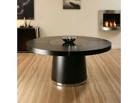 Quatropi Black Dining table with lazy susan and 8 dining chairs