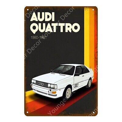Audi Quattro Metal Poster Car Garage Vintage Style Retro Tin Sign