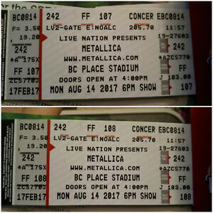 METALLICA - lower bowl - physical tickets REDUCED PRICE