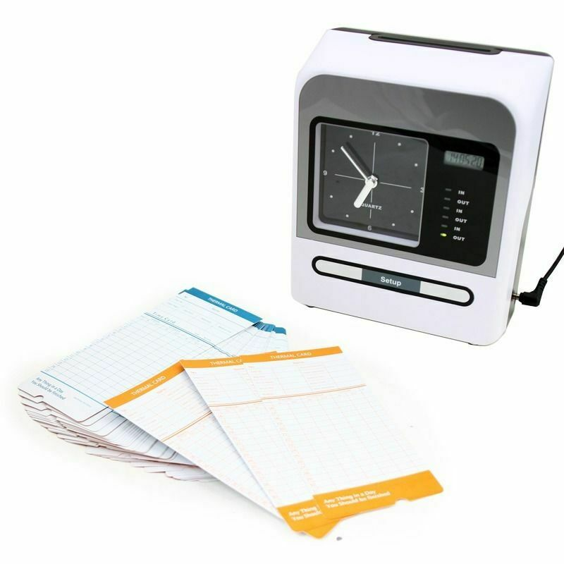 US Monthly Electronic Time Clock Punch Card Machine Employee Work Hours Recorder
