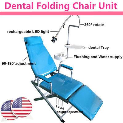 Portable Folding Chairrechargeable Led Lightdental Traywaste Basin Dental New