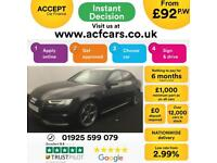 2017 BLACK AUDI A4 1.4 TFSI 150 BLACK EDITION AUTO SALOON CAR FINANCE FR £92 PW