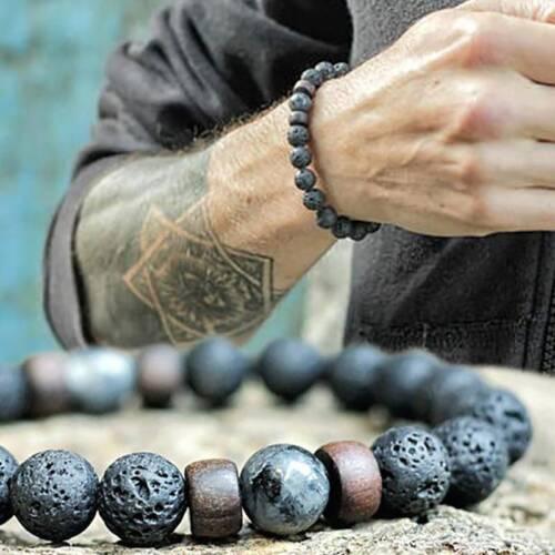 Men Women Natural Stone 8mm Lava Rock Bracelet Elastic Yoga