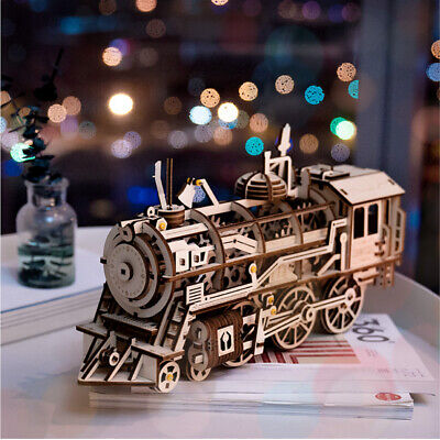 Building Kits For Adults (ROKR DIY Locomotive Model Building Kits Assembly Wooden Train Toy for)