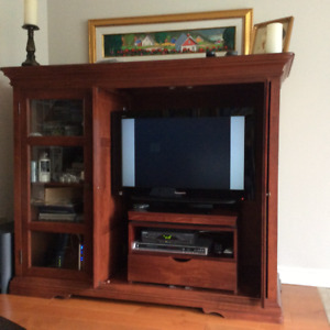 "Armoire pour TV 32 ""  avec cabinet lateral vitre"