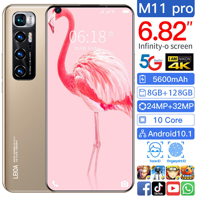Android Phone - 2021 M11PRO Smartphone Android 10.1 8G+128GB 6.82'' Mobile Phone Dual SIM UK NEW