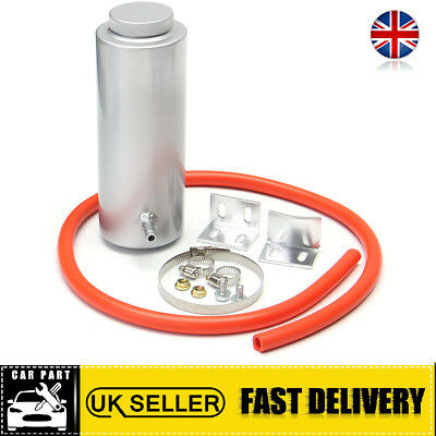 800ml Silver Cylinder Radiator Overflow Reservoir Aluminum Coolant Catch Tank UK