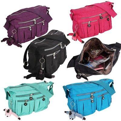 Women's Polyester Organizer Purse Multi Pocket Handbag Shoulder Bag Satchel Tote ()