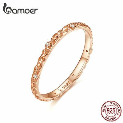 BAMOER Women Rose Finger Ring 925 Sterling Silver Retro patterns fashion Jewelry