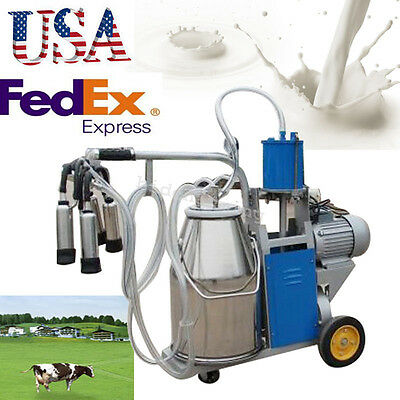 Usa Portable Milker Electric Vacuum Pump Milking Machine Bucket 25l Farm Cow Fda