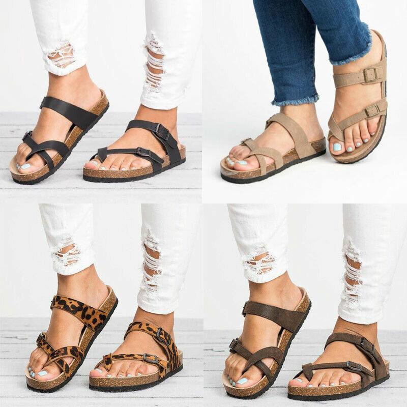Women Gladiator Sandals Flip Flops Flat Ladies Buckle Beach