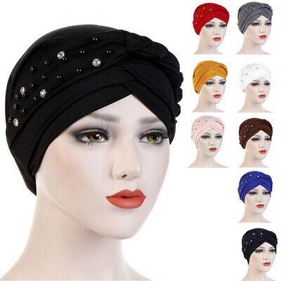 Beaded Fashion Hat - Women Caps Pearls Beaded Turban Muslim Fashion  Hat Headwrap Bonnet Hats