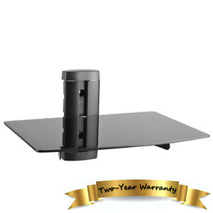 NEW Black Glass Floating Wall Mount Shelf DVD Player Sky Box PS3 Game Console#1T