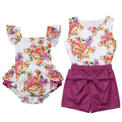 Little/Big Sister Matching Clothes Kids Baby Girl Floral Romper Dress Outfits US