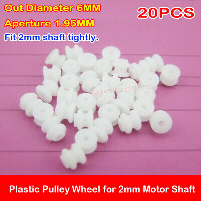 20pcs Micro Mini 26mm Plastic Pulley Wheel For Motor Shaft 2mm Diy Toy Model