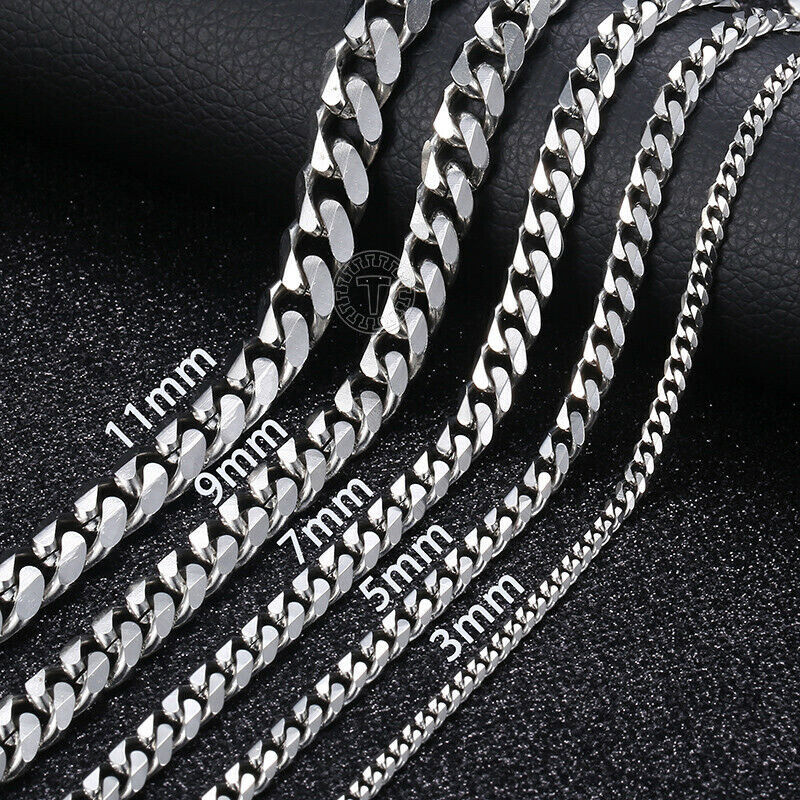 """Jewellery - 16""""-36"""" Stainless Steel Silver Chain Cuban Curb Women Mens Necklace 3/5/7/9/11mm"""