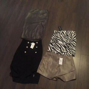 ASSORTED NEW SMALL/MED SKIRTS FAUX LEATHER AND MORE