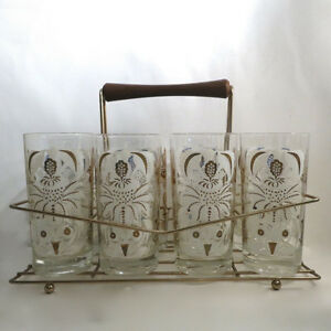 Vinage 1950s 8 Glasses & Wire Holder Rack Kitchener / Waterloo Kitchener Area image 2