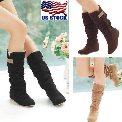 USA Womens Autumn Winter Slouchy Mid Calf Boots Lace Cuff Hidden Heel Shoes Size
