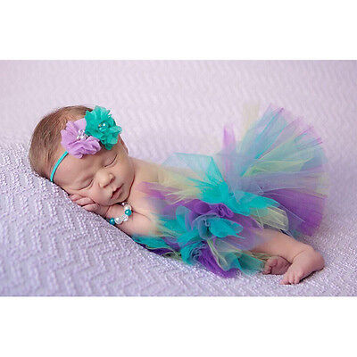 Fotoshooting Neugeborene Baby Kostüm Tütü + Stirnband  Foto - Shooting bunt (Baby Elfen Kostüme)