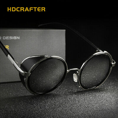 HDCRAFTER Vintage Steampunk Polarized Sunglasses Round Retro Pilot Black Eyewear