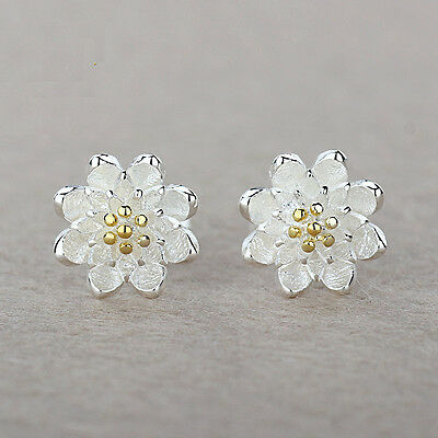 (925 Sterling Silver Women Jewelry Cute Flower Elegant Crystal Ear Stud Earrings)
